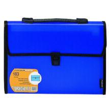 Harmonika táska, fogantyúval, 13 rekeszes, FOLDERMATE - kék