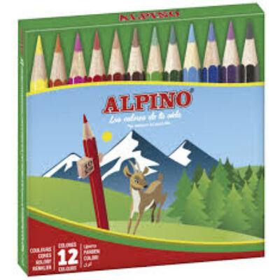 Színes ceruza 12 db-os készlet, rövid, ALPINO