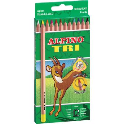 Színes ceruza 12 db-os készlet, háromszögletű, ALPINO